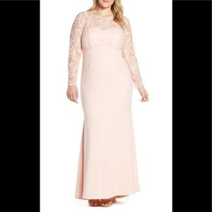 NWT Eliza J Embroidered Bodice Blush evening gown